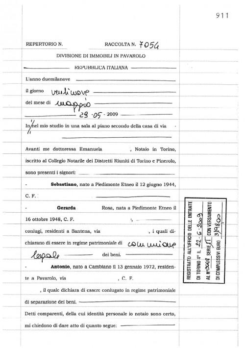 Copia dell'atto notarile