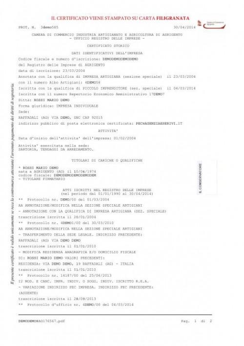 Certificato camerale