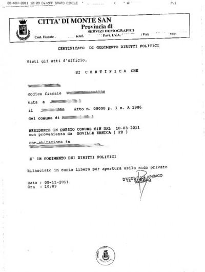 Certificato di Godimento dei diritti politici - Zerocrazia
