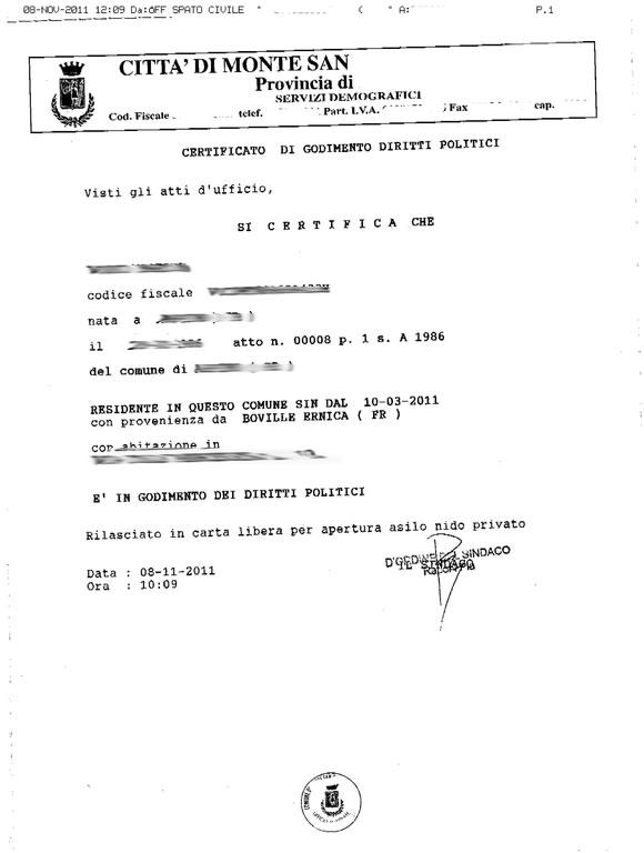 Certificato di godimento dei diritti politici
