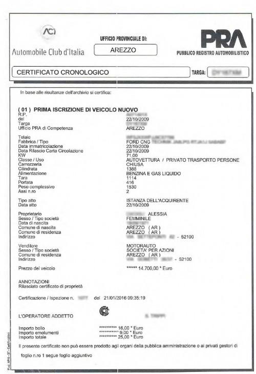 Certificato cronologico PRA