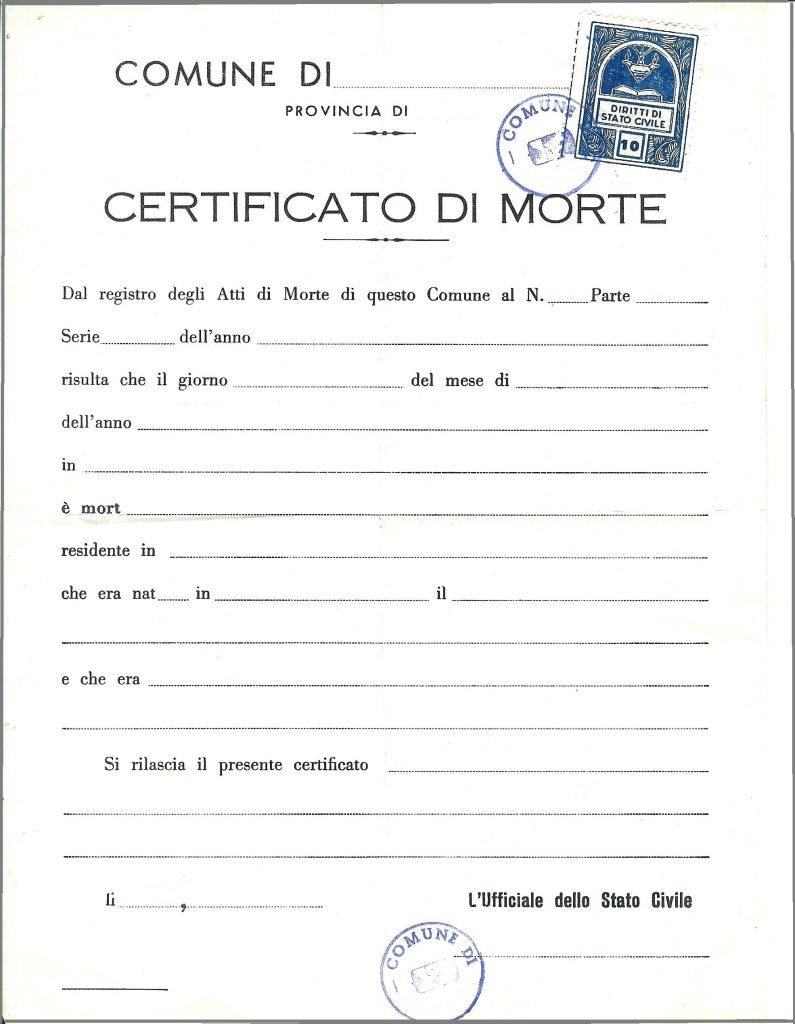 Certificato / Estratto di morte