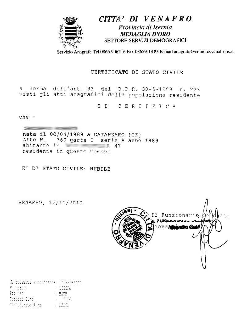 Certificato di Stato Libero | Anagrafe | Dati Anagrafici - Zerocrazia