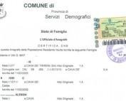 Certificato Stato di Famiglia